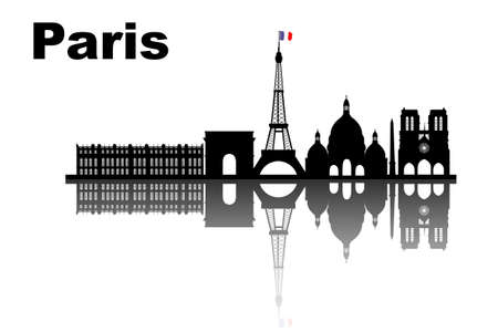 versailles   france: silhouette of Paris skyline - great for your design Illustration