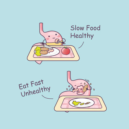 slow food: cute cartoon stomach low food healthy, great for health care concept