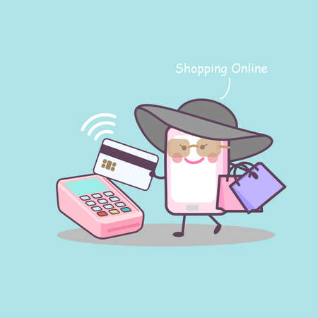 smart card: cute cartoon smart phone shopping online with credit card, great for your design