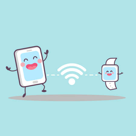nfc: cute cartoon smart phone and smart watch connected by wifi and nfc, great for your design Illustration