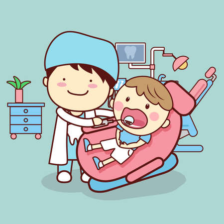 doctor who: cartoon dentist or doctor checking childs tooth who is sitting on the chair, great for dental care concept