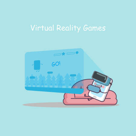 virtual reality simulator: cute cartoon smart phone with virtual reality games on sofa, great for your design