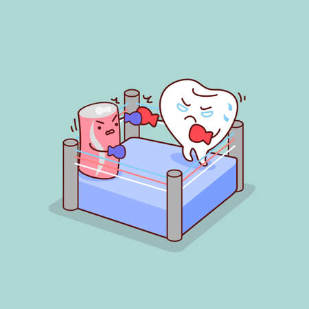 carbonated: cartoon tooth boxing with Carbonated drinks, great for dental care concept