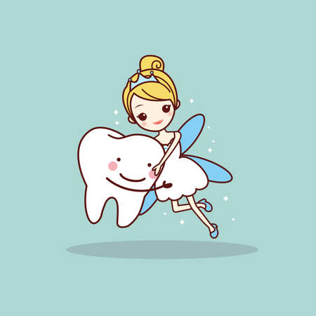 tooth fairy: cartoon  tooth with tooth fairy, great for dental care concept