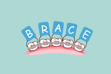 brace: cartoon tooth with brace holding billboards , great for dental care and brace concept Illustration
