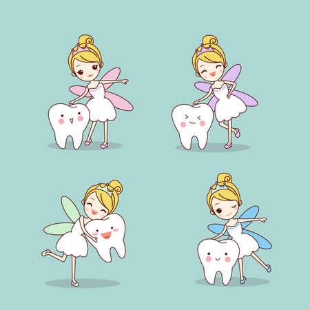 muela caricatura: diente de la historieta con el conjunto de hada de los dientes, gran concepto de cuidado dental