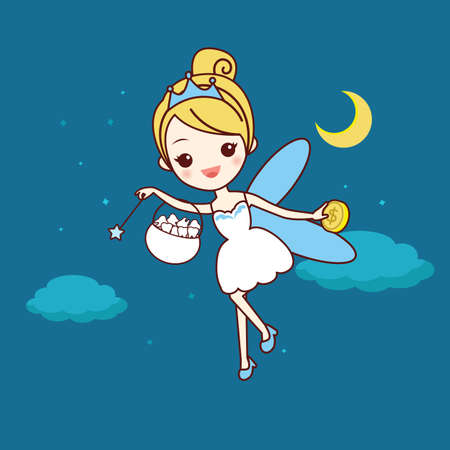 fairy wand: cartoon  tooth with tooth fairy and magic wand, great for dental care concept Illustration