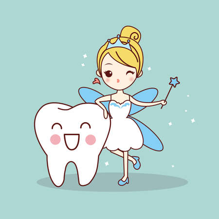 tooth fairy: cartoon  tooth with tooth fairy and magic wand, great for dental care concept Illustration