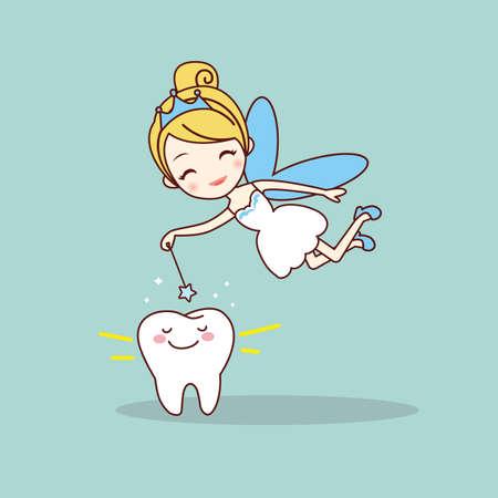 hadas caricatura: diente de la historieta con el hada de los dientes y la varita mágica, gran concepto de cuidado dental Vectores