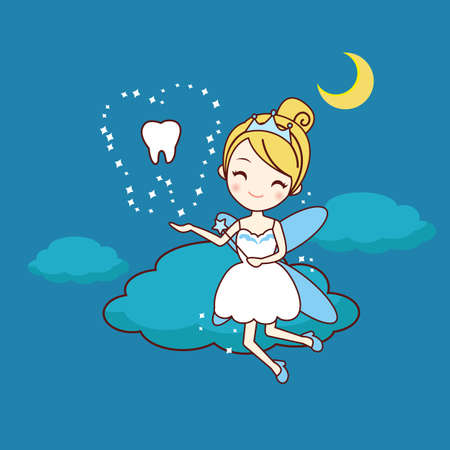 tooth fairy: cartoon tooth with tooth fairy and magic wand, great for dental care concept