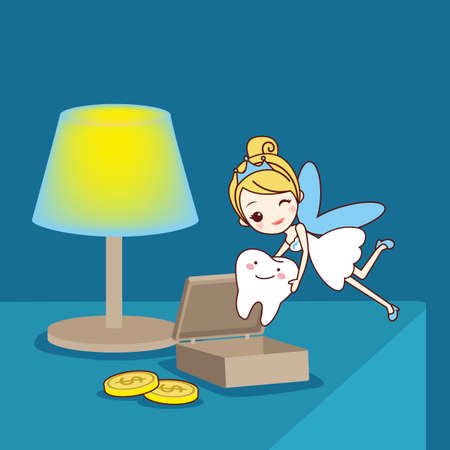 fairy  tail: cartoon Baby tooth with tooth fairy in the room, great for health dental care concept