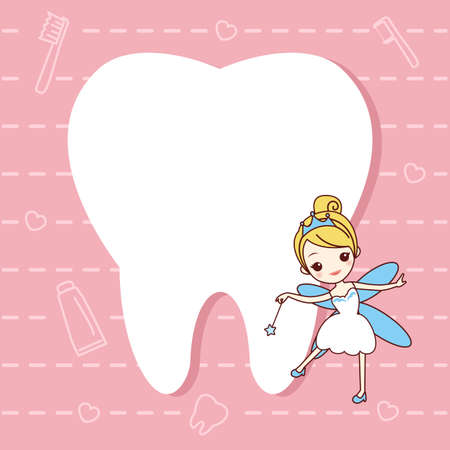 tooth cartoon: cartoon  tooth note with tooth fairy, great for dental care concept