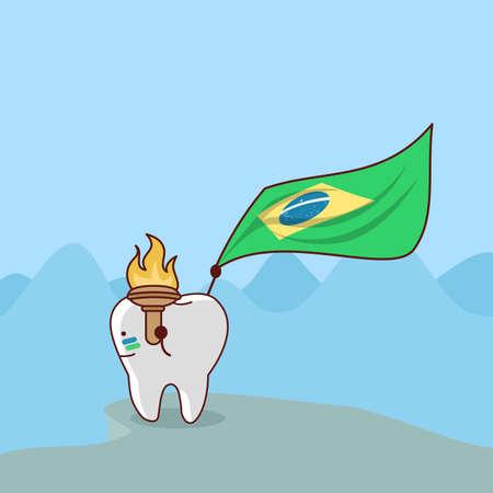 monta�as caricatura: diente de la historieta con la bandera del Brasil, gran concepto de cuidado dental