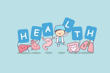 intestinal cancer: Happy organ cartoon with billboard - heart, lung, liver, stomach ,intestine and doctor, great for health care concept