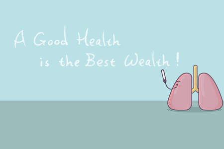 good health: cartoon lung with slogan,a good health is the best wealth, great for health care concept