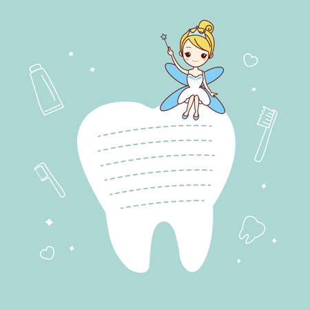 muela caricatura: de dibujos animados nota diente con hada de los dientes, gran concepto de cuidado dental