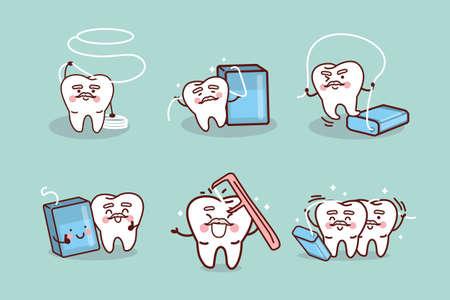 dental floss: cute cartoon senior tooth use dental floss, great for health dental care concept