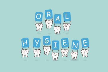 higiene bucal: lindo salto diente de la historieta con la cartelera, higiene oral, gran concepto de cuidado dental de la salud