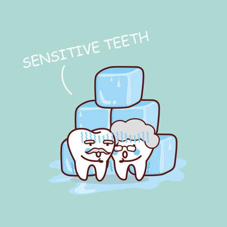sensitive: cute cartoon senior sensitive teeth with ice, great for health dental care concept Illustration