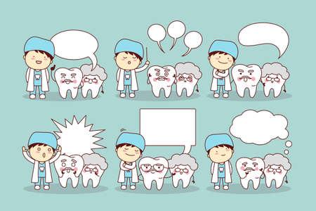 comunicacion oral: linda de la historieta del diente mayor y doctor o dentista con bocadillo, gran concepto de cuidado dental de la salud