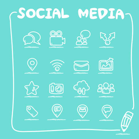 social media icon set: social media icon set - doodle Series