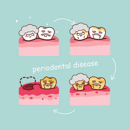 periodontal disease: cute cartoon senior tooth with periodontal disease intographic, great for health dental care concept