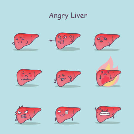 hepatic: Angry cartoon liver set, great for your design