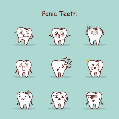 dental fear: Panic cartoon tooth set, great for your design