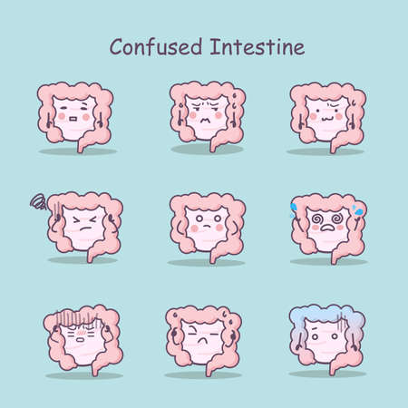 sigmoid: Confused cartoon Intestine set, great for your design