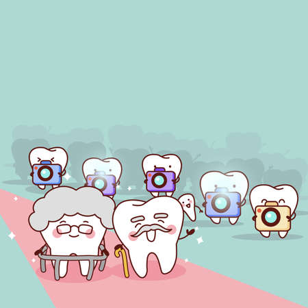 older woman smiling: cartoon health couple tooth,great for health dental care concept