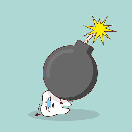 cartoon bomb: cartoon tooth with bomb, great for health dental care concept Illustration
