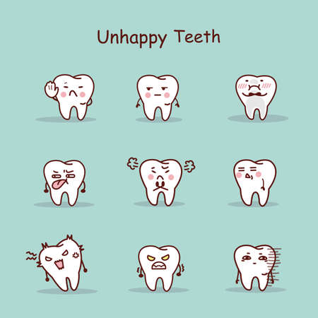 oral communication: Unhappy cartoon tooth set, great for your design