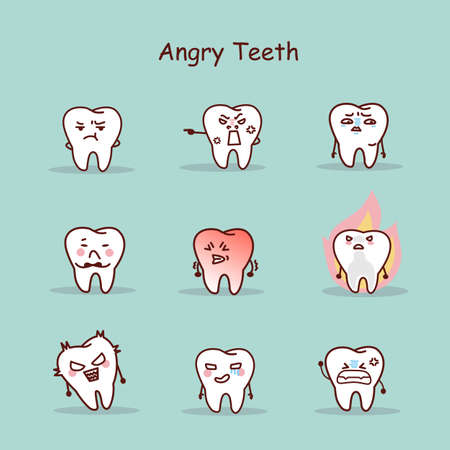 comunicacion oral: Angry cartoon tooth set, great for your design Vectores