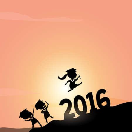 monta�as caricatura: Siluetas de dibujos animados excitado feliz de salto estudiante graduado de la universidad m�s de 2016 a�os en la cima de la monta�a Vectores