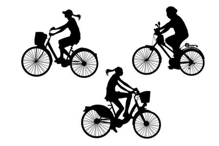 weight loss success: Silhouette of Biker, young sport woman and man with white background