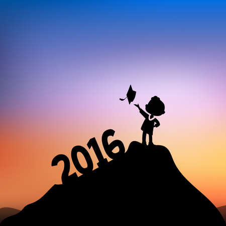 monta�as caricatura: Cartoon Silhouettes of excited happy college graduate student on the top of mountain with 2016 text
