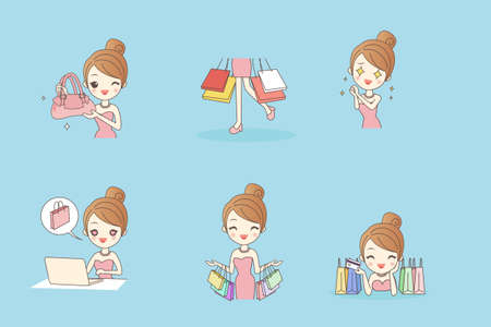 full length woman: Cartoon happy shopping young woman with bags and gift box, beauty