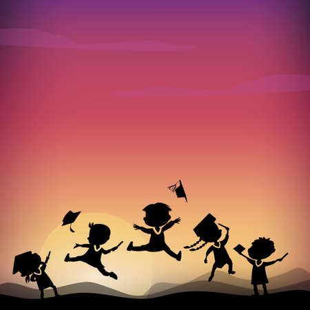 monta�as caricatura: Cartoon Silhouettes of excited happy college graduate student jump on the top of mountain