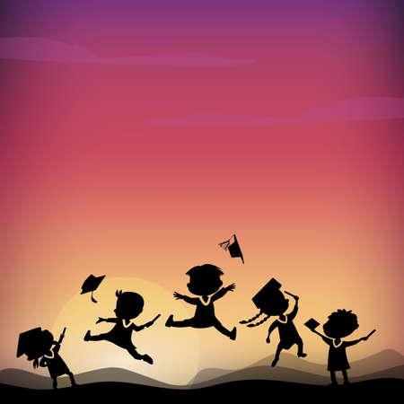 monta�as caricatura: Siluetas de dibujos animados de salto feliz emocionados estudiante graduado de la universidad en la cima de la monta�a Vectores