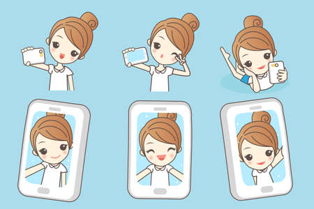 smart phone woman: Cartoon young woman smile take selfie by smart phone, beauty