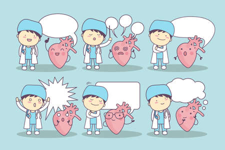 speech bubble hospital: cartoon heart and doctor with speech bubble, great for your design