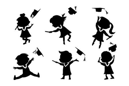 classmate: Silhouettes of cartoon excited happy college graduate student jump and holds diploma with classmates Illustration