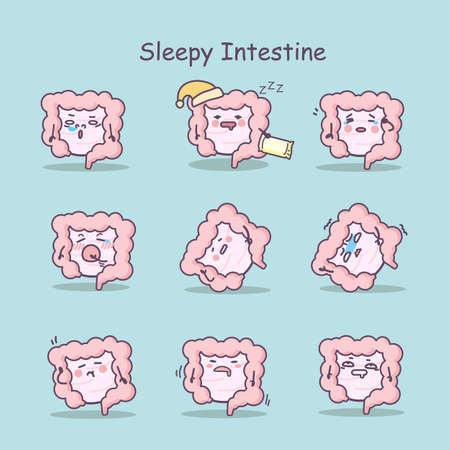 ileum: Sleepy cartoon intestine set, great for your design