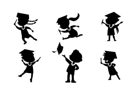 classmates: Silhouettes of cartoon excited happy college graduate student jump and holds diploma with classmates Illustration
