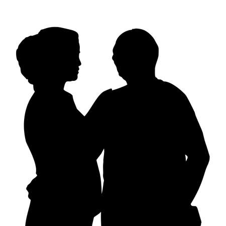 couple lit: lovers in silhouette with white background, great for your design Illustration