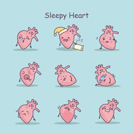 sleepy: Sleepy cartoon heart set, great for your design