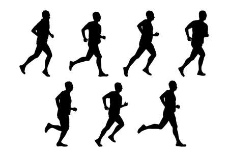 weight loss success: Silhouette of sport man run with white background