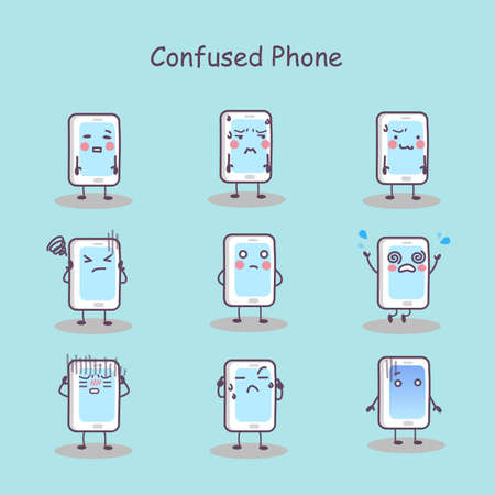difficult decision: Confused cartoon smart phone set, great for your design