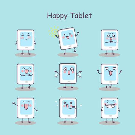 digital tablet: Happy cartoon digital tablet pc set, great for your design Illustration