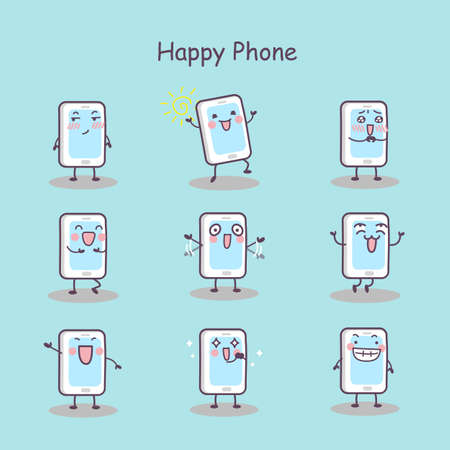 mouth screen: Happy cartoon smart phone set, great for your design